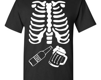 Skeleton Beer Ribcage Halloween T-shirt Tshirt Tee Shirt Gift Father Pregnancy Xray Mug Bottle Shower Funny Couples Costume College Scary