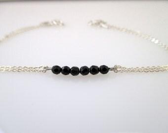 Black Onyx silver bracelet, silver chain Bracelet, Everyday jewelry, Valentine's Day Gift, delicate