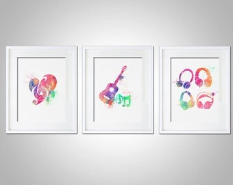 Watercolor Art Print Set of 3 Modern 5x7 8x10 11x14 Wall Art Decor Illustration Music Room Gift Music Lover Rainbow Prints Matching Set