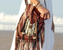 ON SALE Brown leather bag, medium size, boho purse, fringe handbag, leather shoulder bag