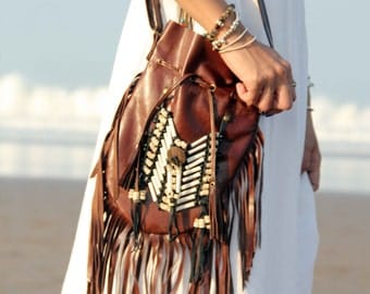 Brown leather bag, medium size, boho purse, fringe handbag, leather shoulder bag