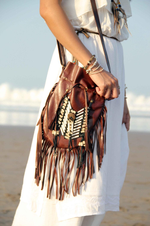 Stupendous Boho Leather Bag Etsy Short Hairstyles Gunalazisus