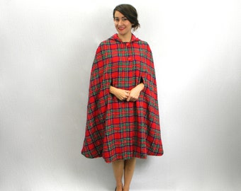 70s Red Plaid Cape   Cape with Hood    Long Tweed Plaid Cape   Red Riding Hood