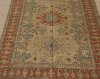 Size:7.3 ft by 5.9 ft Handmade Kilim Afghan Tribal Sumak Chobi Kilim