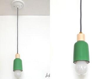Green original pendant light. Modern and scandinavian style. Handmade.