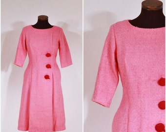 Vintage 1950s Pink Suzy Perette Button Wool Dress M