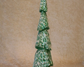 Hand Carved Wood Christmas Tree #156