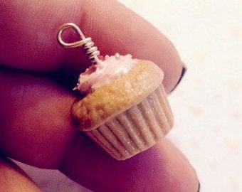 Handmade Realistic Polymer Clay donut charm~ pink Frosting with cherry and sprinkles