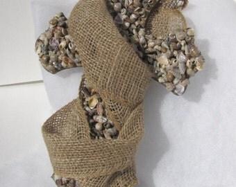 Seashell and Burlap Cross