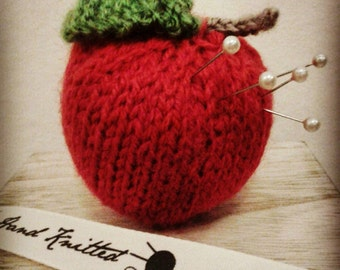 Knitted apple pincushion pretend food gift