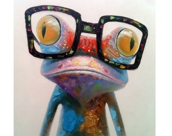 Nerdy Frog Oil Painting on Canvas - Happy Frog with Glasses Original Artwork - Ready to Hang on your Wall