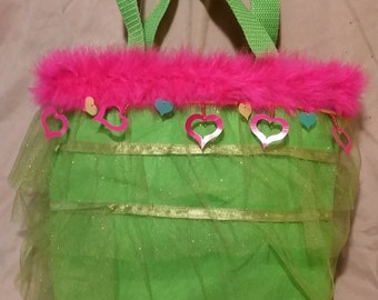 Green Fringed Kids Tote Bag