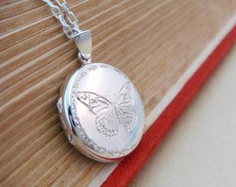 Silver Butterfly Locket