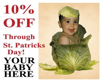 SALE Irish St.Patrick's Day Baby Photo Customized personalized from Your EXISTING PHOTO discount now through 3-17-15 Optional text is Free!