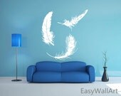 Feathers Wall Decal, Feather Wall Art Sticker, Feather Decal Wall Decor, Vinyl Wall Stickers,Vinyl Wall Sticker for Living room, Nursery#M33