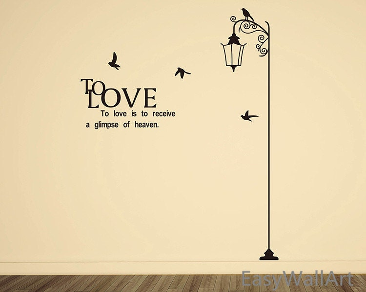 Street Lamp Decal Birds & Love Quotes Wall Decal Love Lamp