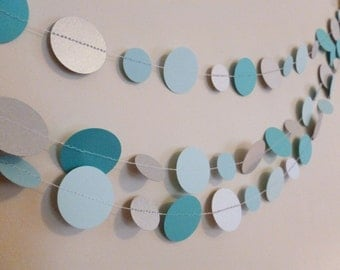 Silver Turquoise Ice Paper Garland | Christmas Decor | Tree Garland