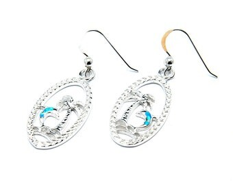 Dolphin Sterling Silver Earrings with Opal