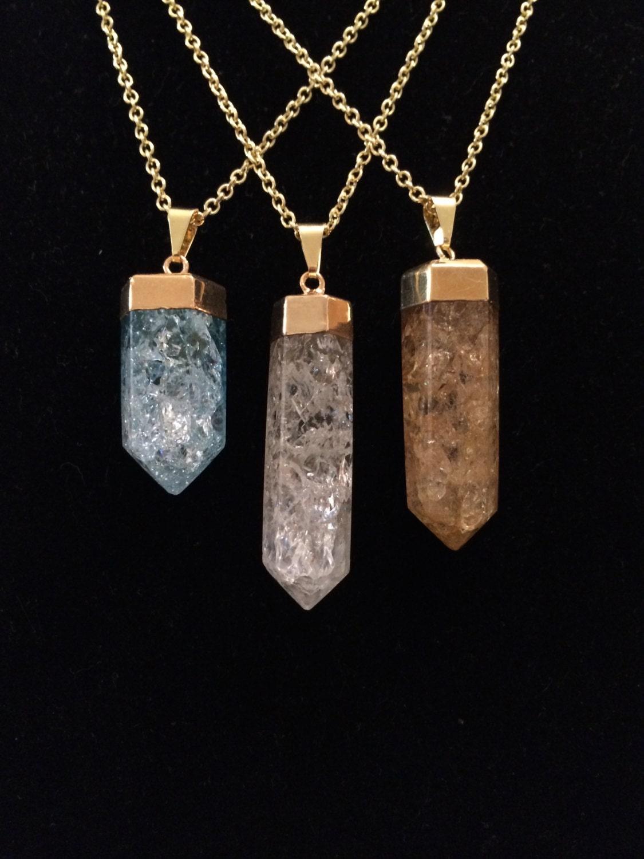 crackle quartz pendant crystal quartz by newmoonbeginnings. Black Bedroom Furniture Sets. Home Design Ideas