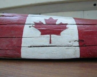 Canadian flag, desk decor, patriotic decor, hand painted, Canadian decoration, distressed flag