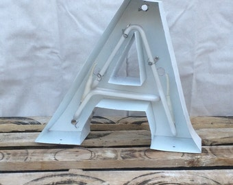 """Salvaged Sign Letters! Metal """"A"""" neon tubing intact non-illuminated"""