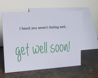 SALE 30% OFF - Get Well Soon Greeting Card, Blank Card