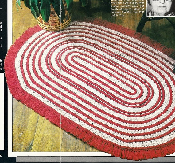 Oval Rug Vintage Crochet Pattern P-103 Puff By PatternMania3