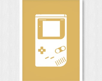 Gold Gameboy Print, Nintendo Print,  Gameboy Silhouette, Retro Poster, Nursery Poster, Wall Print, Wall Decor, Digital, Printable, Download