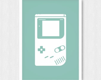 Mint Gameboy Print, Nintendo Print, Turquoise Gameboy, Gameboy Silhouette, Retro Poster, Nursery Poster, Wall Print, Wall Decor, Printable