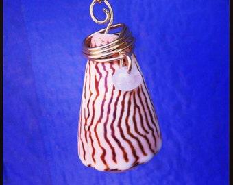 Very Rare Prince Cone Shell pendant // Genuine rose quartz // Wire wrapped jewelry // Hawaiian shell jewelry // Boho style jewelry //