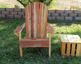 Adirondack Chair Hand Made, Redwood, Super Comfortable, Outdoor, Weatherproof, Rustic, Cabin Furniture
