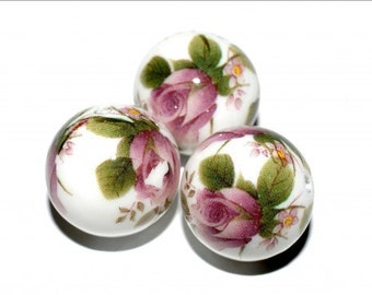 1 pc/14 mm Stunning Japanese TENSHA bead (White with pink flowers)