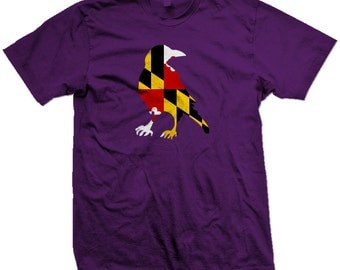 Baltimore Ravens with Maryland Flag Screenprinted TShirt