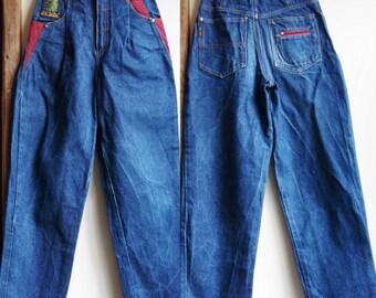 Maman pantalon bleu jeans vintage taille haute froncée jeans jeans jambe effilée Jean de la jeune fille 11/12 ans