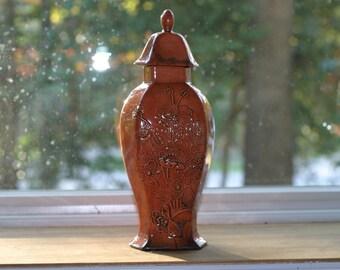 Raku Cosmic Copper Pottery Flower Vase Urn - Raku Ceramic Vase - Raku Pottery -Kiln ceramics