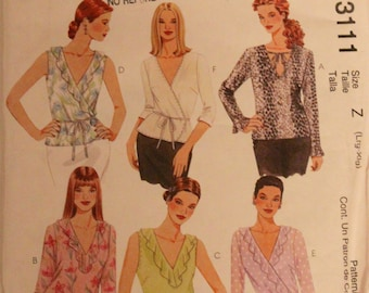 2001 Sewing Pattern, MCCALLS 3111. US Size 16-22. Modern Wrap Top - 6 Variations