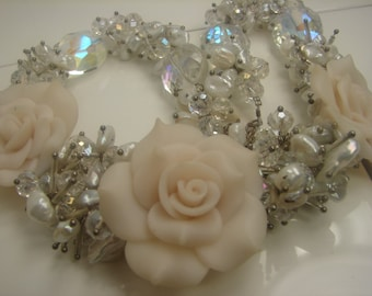 Beautiful Flower Necklace, huge, 6 Ounces, Crystals, Pearls, Flowers wedding  164