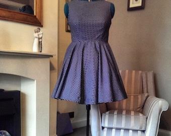 Lovely Navy Blue and White Polka Dot Dress with Full Circle Skirt - UK 18