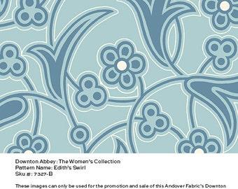Downton Abbey Fabric - Edith's Swirl in Blue