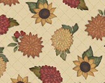 Give Thanks - Tossed Flowers on Tan Fabric