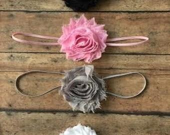 Baby girl headband set, Shabby Chic headband set, White Pink Gray headband, Newborn headband. Photo prop, Baby accessories, Headband set