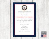 Navy Retirement Ceremony Invitation, U.S. Navy, Military Retirement Invitation, Military Ceremony Invitation, Military Printable Invitation