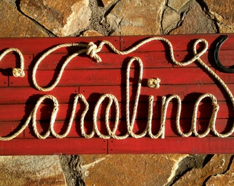 """CAROLINA: 42"""" Country Western Rope Name Sign Shabby Chic  - Distressed RED- (004)"""