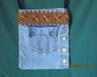 Denim Purse Made Of Recycled Blue Jeans With A Shoulder Strap: Item #61
