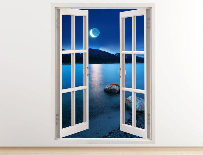 Lake At Moonlight Wall Decal Vertical 3D Window Lake Wall
