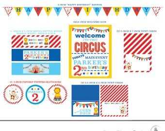 Circus Theme Birthday Prinitable Package Digital Files 8.5 x 11 Printable PDF Files Birthday Printable Decorations Circus Birthday