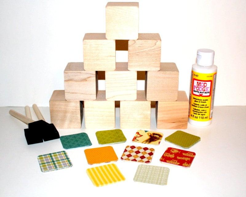 Diy baby shower craft wooden baby blocks children 39 s for Child craft wooden blocks