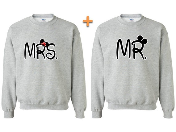 mr and mrs cartoon ears couple matching crewneck by. Black Bedroom Furniture Sets. Home Design Ideas
