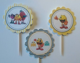 Pacman cupcake toppers