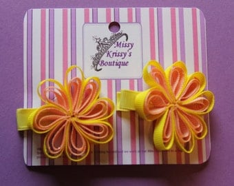 Ribbon Flower Hair Bow Hair Clips, Yellow
